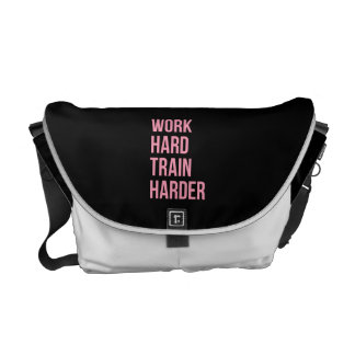 Work Hard Train Harder Fitness Quote Black Pink Courier Bag