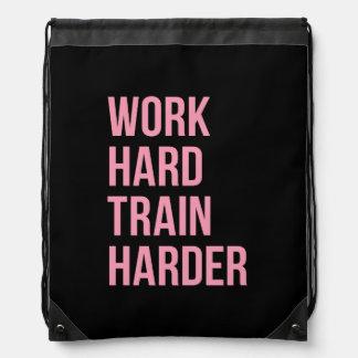 Work Hard Train Harder Fitness Quote Black Pink Drawstring Bag