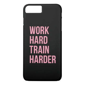 Work Hard Train Harder Fitness Quote Black Pink iPhone 7 Plus Case
