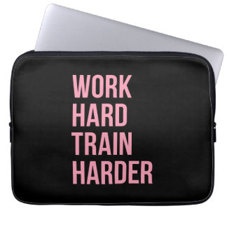 Work Hard Train Harder Fitness Quote Black Pink Computer Sleeves