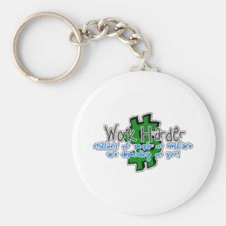 Work Harder Basic Round Button Keychain