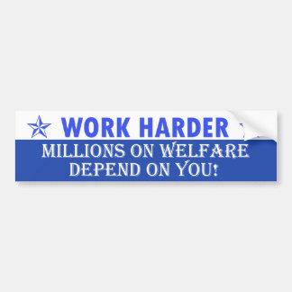 Work Harder Car Bumper Sticker