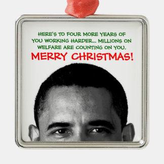 Work Harder Christmas Barack Obama Square Metal Christmas Ornament