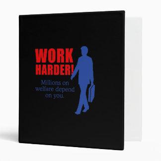 Work Harder. Millions on welfare depend on you. Vinyl Binder