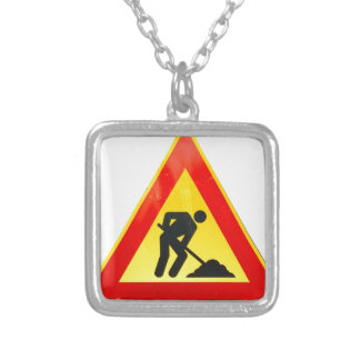 Work in progress sign square pendant necklace