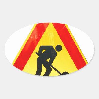 Work in progress sign oval sticker