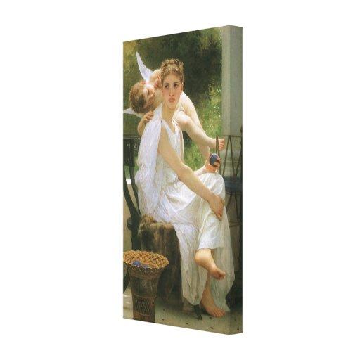 Work Interrupted by Bouguereau, Vintage Angel Art Stretched Canvas Prints
