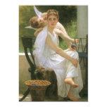 Work Interrupted by Bouguereau, Vintage Angel Art Custom Announcement