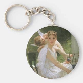 Work Interrupted by Bouguereau, Vintage Angel Art Key Chains