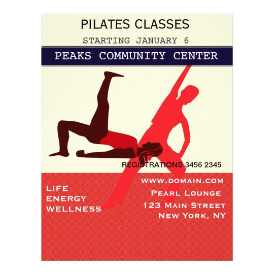 work it out  pilates yoga exercise workout flyer