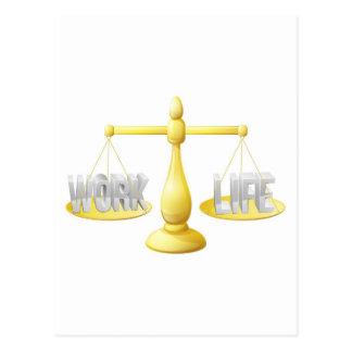 Work life balance scales postcard