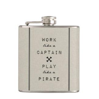 Work Like A Captain Play Like A Pirate Hip Flask