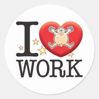 Work Love Man Classic Round Sticker
