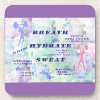 Work Out Body Building Gal at the Gym Breath Sweat Drink Coaster