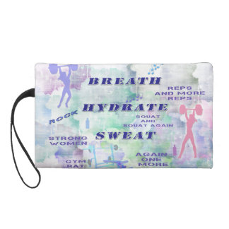 Work Out Body Building Gal at the Gym Breath Sweat Wristlet Purse