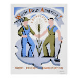Work Pays America 1939 WPA Poster