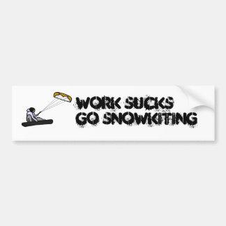 work sucks snowkiting bumper sticker