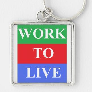"Work-To-Live Small (1.38"") Premium Square Keychain"