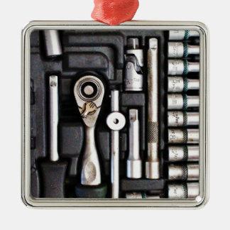 Work Toolbox - Industrial Print Metal Ornament