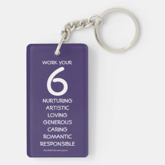 """Work your 6"" Numerology Key Chain for Number 6"
