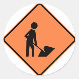 Work Zone Highway Construction Sign Classic Round Sticker
