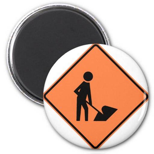 Work Zone Highway Construction Sign Fridge Magnet