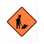 Work Zone Highway Construction Sign Post Card