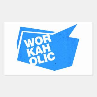 workaholic - blue rectangular sticker