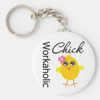 Workaholic Chick Basic Round Button Keychain