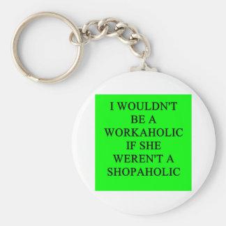 workaholic basic round button keychain