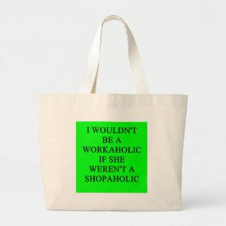 workaholic large tote bag