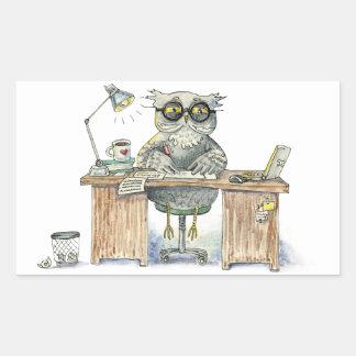 Workaholic night owl rectangular sticker