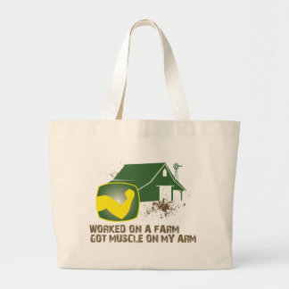 Worked on a Farm Large Tote Bag