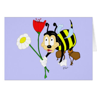 Worker Bee and Flower Greeting Card