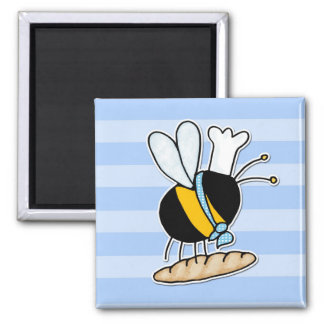 worker bee - baker 2 inch square magnet