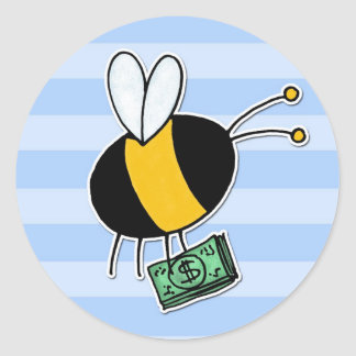 worker bee - banker classic round sticker