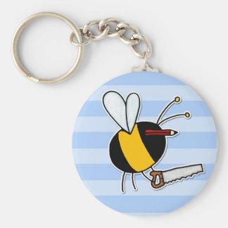 worker bee - carpenter basic round button keychain