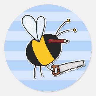 worker bee - carpenter classic round sticker