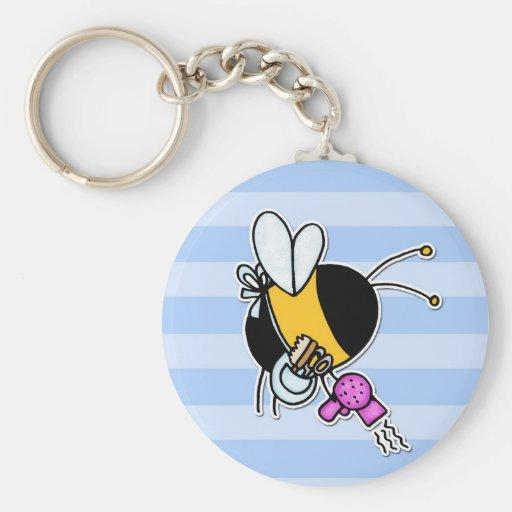 worker bee - hairdresser basic round button keychain