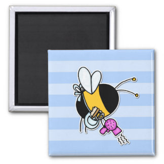 worker bee - hairdresser 2 inch square magnet