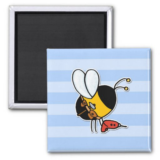 worker bee - handyman 2 inch square magnet