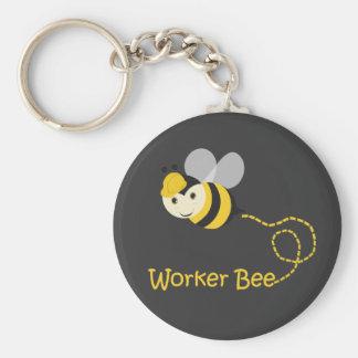 Worker Bee Basic Round Button Keychain