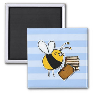 worker bee - librarian 2 inch square magnet