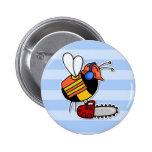 worker bee - lumberjack 2 inch round button