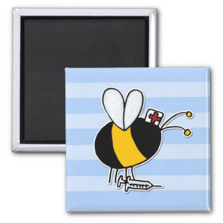 worker bee - nurse 2 inch square magnet