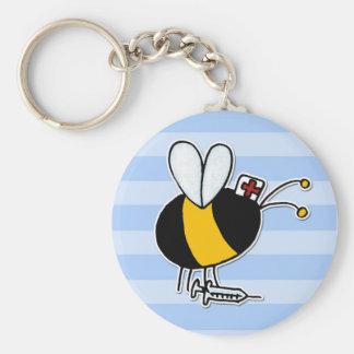 worker bee - nurse basic round button keychain