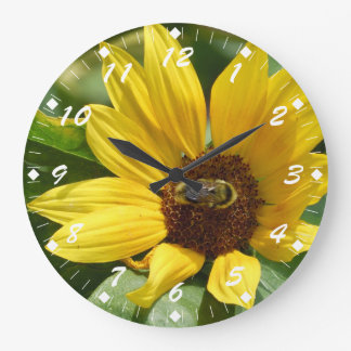 Worker Bee on Sunflower Large Clock
