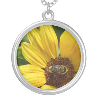 Worker Bee on Sunflower Silver Plated Necklace