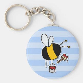worker bee - painter basic round button keychain
