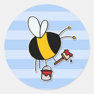 worker bee - painter classic round sticker